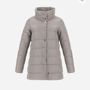 HERNO Nylon Stretch A-Shape Coat in Grey Pearl